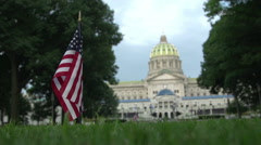 Harrisburg, Pennsylvania - State Capitol Building - Lawn Flag Justified Left Stock Footage