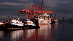 Docks and Cranes, Seattle Harbor, WA Stock Footage