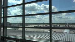 4k Terminal panning window airfield International Airport Frankfurt Main Stock Footage