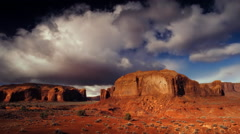 Red Rock formations and buttes at Monument Valley Tribal Park, AZ Stock Footage