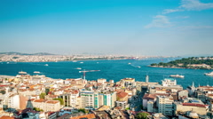 Istanbul. Bosphorus strait and Golden horn. Aerial view. Easy zoom in Stock Footage