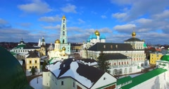 Aerial view of the Trinity Lavra of St. Sergius in Sergiyev Posad. Stock Footage