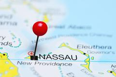 Nassau pinned on a map of Bahamas Stock Photos