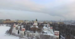 Novodevichiy convent. Flying backwards. Stock Footage