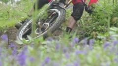 Mountain Biker Corner with Bluebells Stock Footage