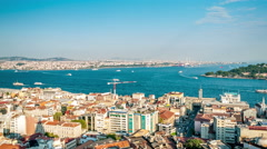 Istanbul. Panoramic view. Golden horn and Bosphorus strait. Camera pan Stock Footage