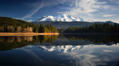 Mount Shasta reflected in Lake - stock footage