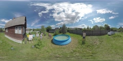 360 VR Three children bathing in rubber pool by the summer house. Ruza, Moscow Stock Footage