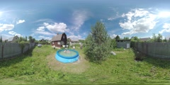 360 VR Children bathing in outdoor pool by the country house - stock footage