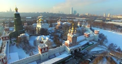 Novodevichiy convent. Aerial view. Stock Footage