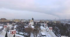 Novodevichiy convent. Aerial. Snowy and frosty russian winter, Moscow. Stock Footage