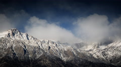 Clearing snow storm, Sierra Nevada mountains, California Stock Footage