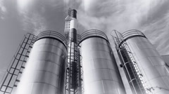 Heating plant with chimney ,Cloudscape BW Stock Footage