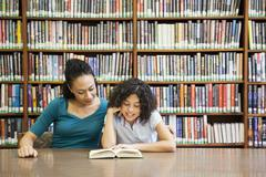 Mother helping daughter read book in library Kuvituskuvat