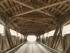POV 8mm Vintage Crossing Wood Covered Bridge Stock Video Stock Footage
