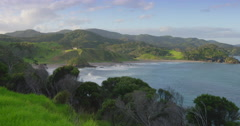 Countryside and coastline at whangaruru bay, northland, Bay of Islands,  new Stock Footage