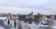 Novodevichiy convent. Aerial, moving down. Stock Footage