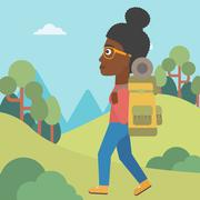 Woman with backpack hiking vector illustration - stock illustration