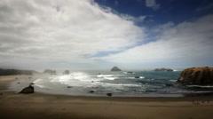 Pacific Ocean beach Bandon, Oregon Stock Footage