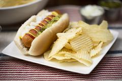 Veggie Hot Dog with Crisps - stock photo