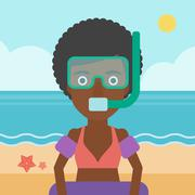 Woman with snorkeling equipment on the beach Stock Illustration