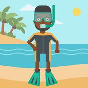 Male scuba diver on the beach vector illustration - stock illustration