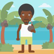 Man drinking coconut cocktail on the beach - stock illustration