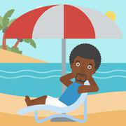 Man relaxing on beach chair vector illustration - stock illustration