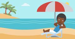 Man relaxing on beach chair vector illustration - stock illustration