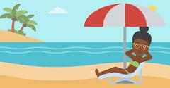 Woman relaxing on beach chair vector illustration - stock illustration