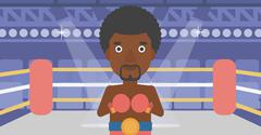 Confident boxer in gloves vector illustration Stock Illustration