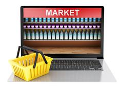 3d Online grocery shopping market with shop cart. Online shopping concept. Piirros