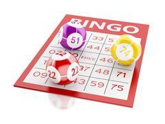 3d Red bingo card with bingo balls. Stock Illustration