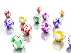 3d Colorful bingo balls against white background. Stock Illustration