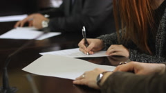 Sign the contract in Office  Stock Footage