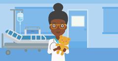 Pediatrician doctor holding teddy bear - stock illustration