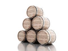 3d Beer barrels against white background. Stock Illustration