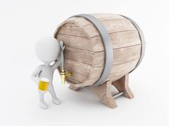 3d White people drinking beer from a beer barrel. - stock illustration