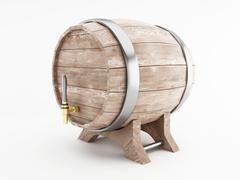 3d Beer barrel against white background. Stock Illustration