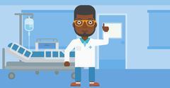 Doctor showing finger up - stock illustration