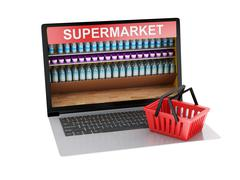3d Online grocery shopping market and cart. - stock illustration