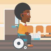 Man with broken leg sitting in wheelchair - stock illustration