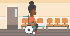 Woman with broken leg sitting in wheelchair Stock Illustration