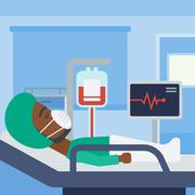 Patient lying in hospital bed with heart monitor - stock illustration