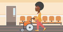 Woman pushing wheelchair Stock Illustration