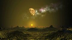 Alien sunset under the moon and nebula Stock Footage