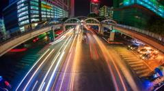 Yangon Cityscape Crossroad Traffic 4K Time Lapse Of Yangon City, Myanmar Stock Footage