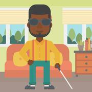 Blind man with stick Stock Illustration