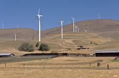 Wind energy in the Columbia Gorge Washington state. - stock photo