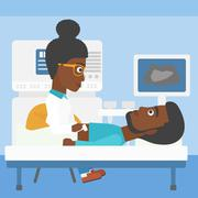 Patient during ultrasound examination Stock Illustration